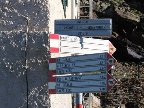 Signs at Marimelli - Bombardieri Rifugio