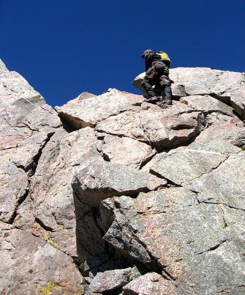 <a href=&quot;http://www.summitpost.org/user_page.php?user_id=31287&quot;>Alex</a> climbing up to the summit ridge of Polemonium
