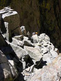 Wendy traversing on her way up to beginning of summit ridge of Polemonium