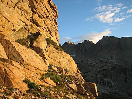 Pawnee Peak's east ridge, during our ascent of Shoshoni