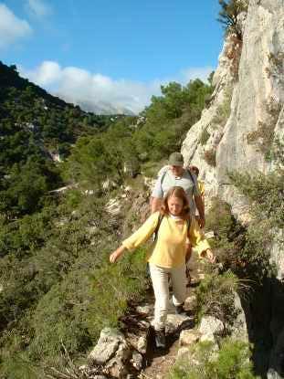 Crossing the Arcos de Massanella