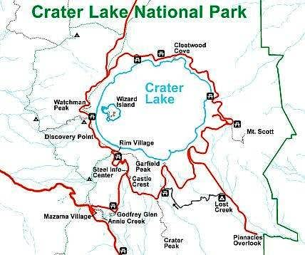 Crater Lake Hiking Map Crater Lake National Park : Climbing, Hiking & Mountaineering  Crater Lake Hiking Map