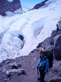 Glacier crevasses on Mt.Rainier