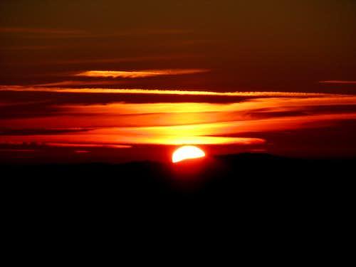 The beautiful sunrise above the Julian Alps.