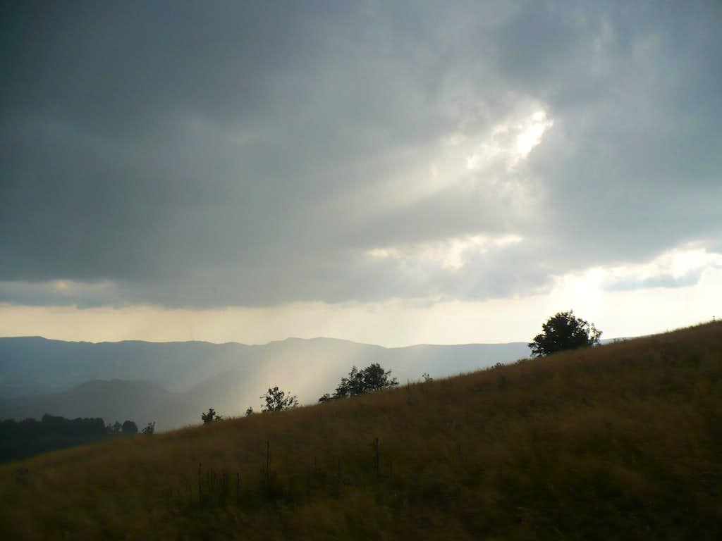 Sunbeams between rain