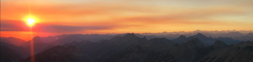 Panorama of sunset from the North Face