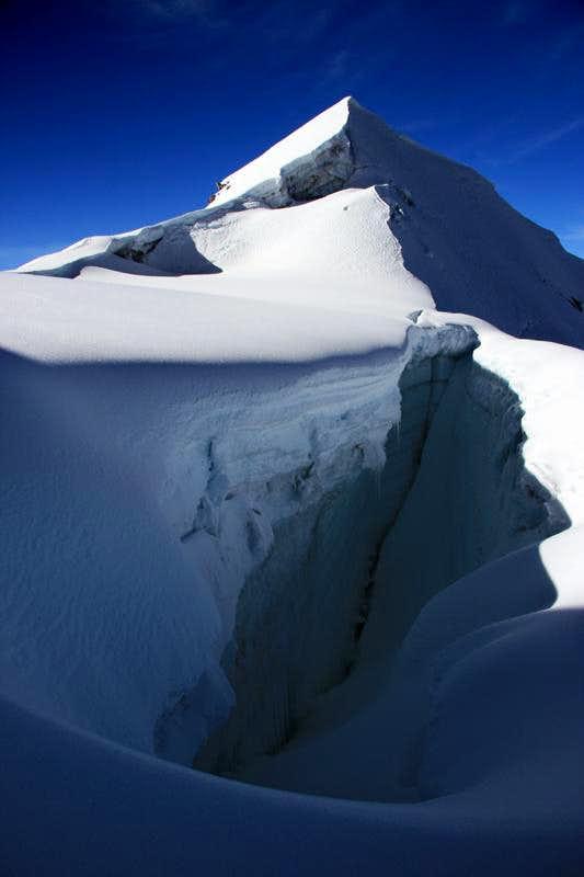 Crevasse and Low Summit of Vallunaraju