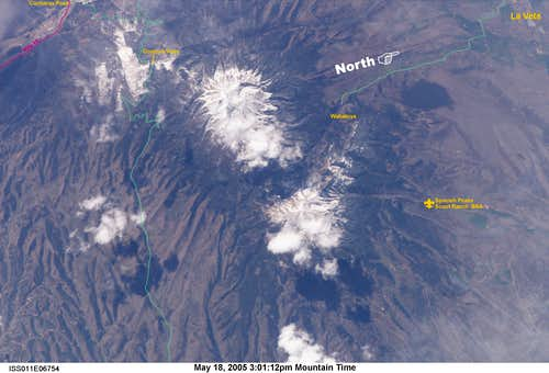 Spanish Peaks from Space