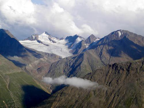 Schalfkogel (3540 m) from the Breslauer Hütte