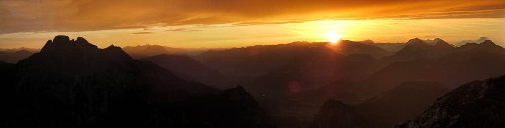 Sunset panorama near Admonter Reichenstein
