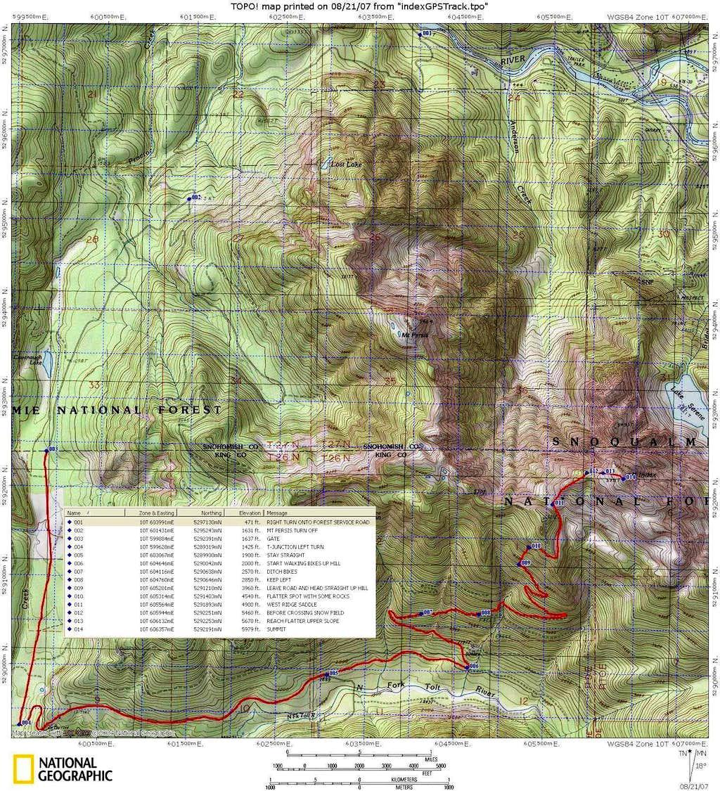 Index West Ridge topo map