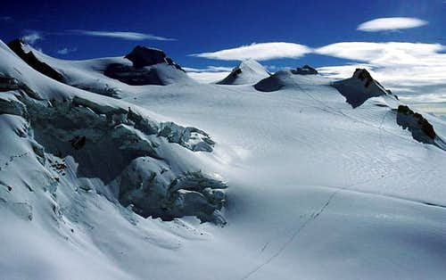 summits of Monte Rosa, seen...