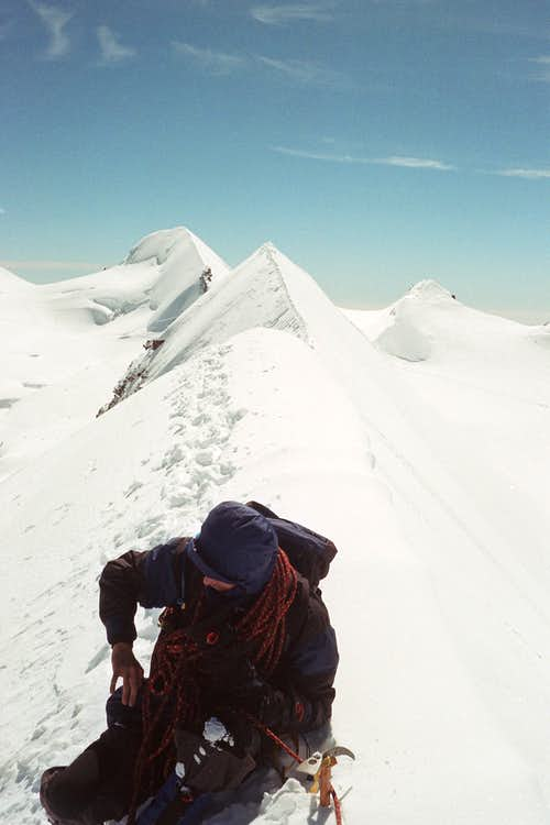 Sitting on Lyskamm ridge