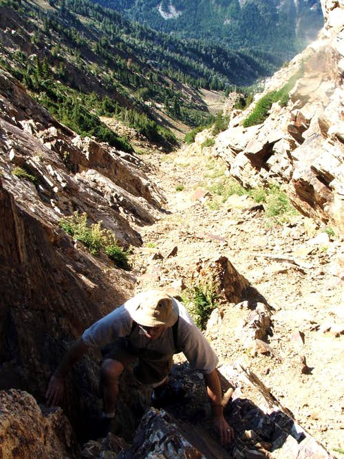 Scrambling up the gulley