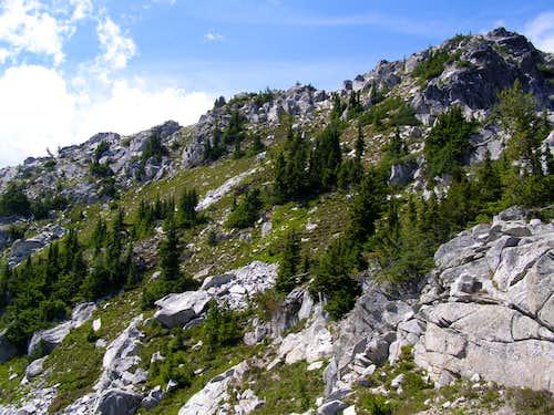 Open ground below summit