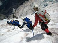 Roped team on descent