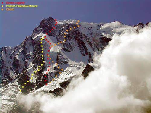 Signalkuppe - routes on the NE wall