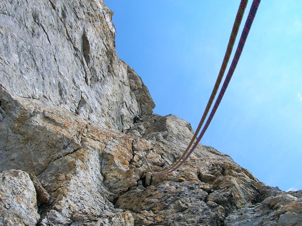 Toby leading the crux 5.9 Dihedral on the Beyer East Face route.