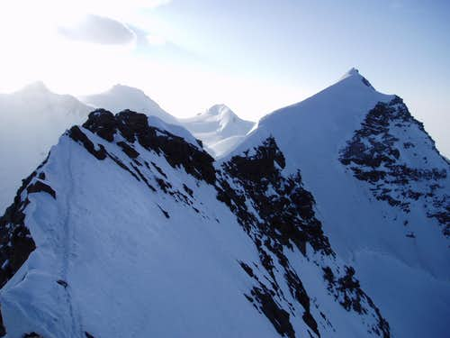 Lyskamm ridge at sunrise