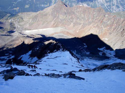 Looking down on W-ridge