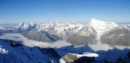 Panorama from Nadelhorn summit