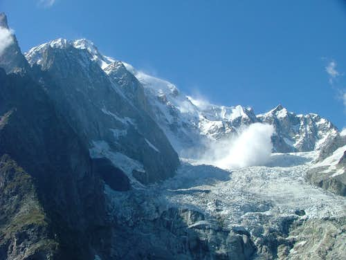 Mont Blanc brenva face - huge icefall
