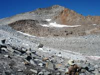 Mount Maclure rising above the Lyell Glacier
