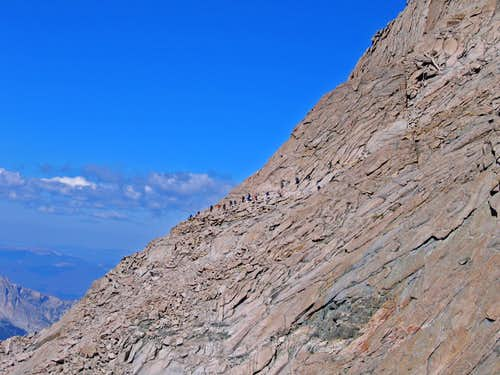 Hikers traversing to Homestretch on Longs