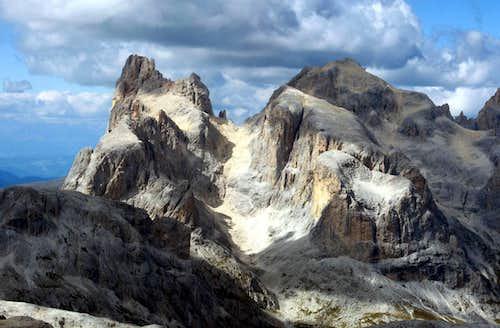 Cimon della Pala and Cima della Vezzana seen from Cima di Fradusta.