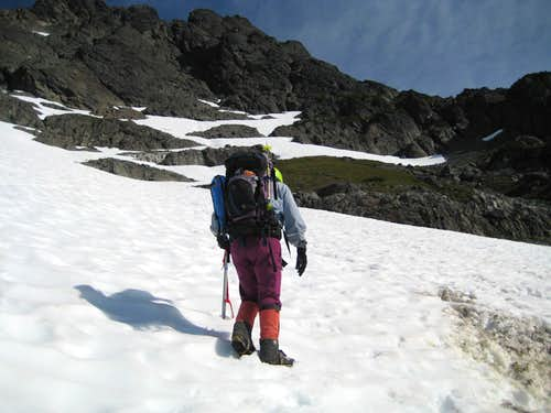 Climbing the lower south face
