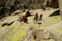 Climbing 'Valentina' route in YELMO's south face