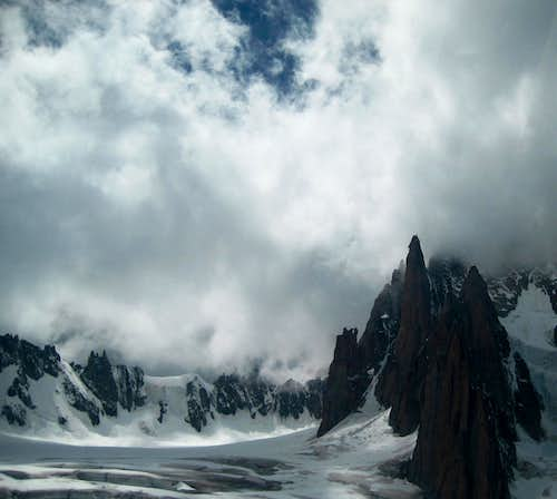 Grand Capucin in clouds