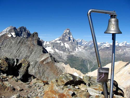 The bell on the top.Matterhorn in the background.