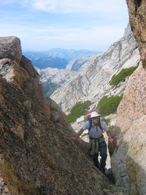 Traverse from the first into the second chute.