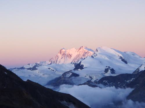Monte Rosa eastface with fist sunlight