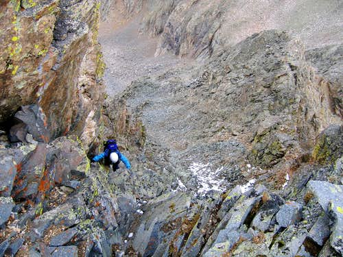 Looking down 4th class crux of Ice Mtn