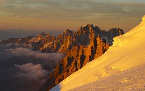 Aiguille du Midi and Aiguille Verte