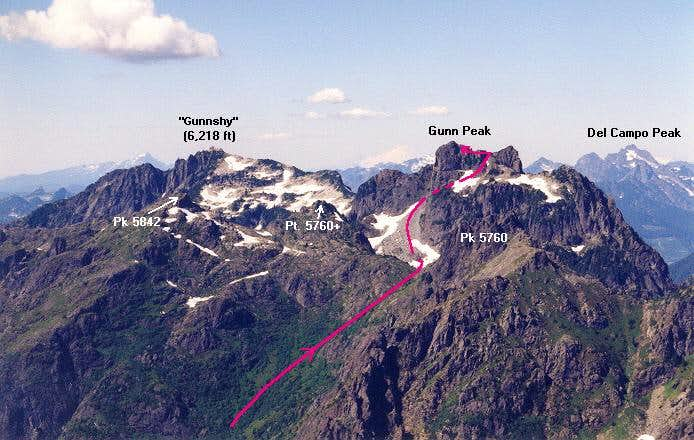 The upper part of the route...