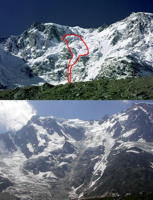 Monte Rosa East wall - the big landslide