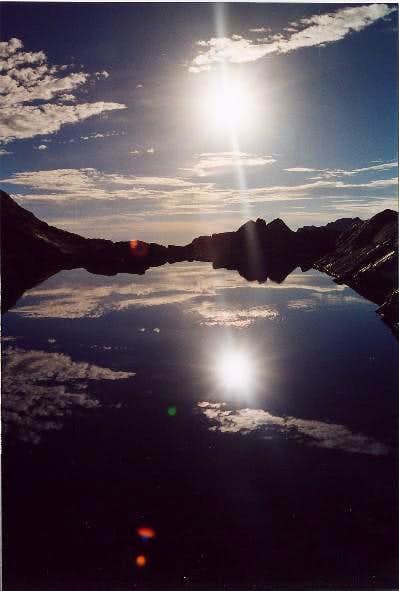 Sunrise over Trail Camp Lake,...