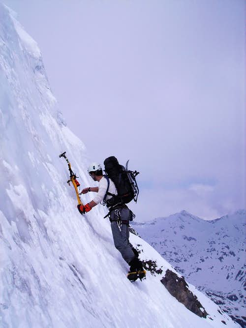 The steep section in the North Face