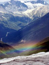 Rainbow below the Asulkan glacier