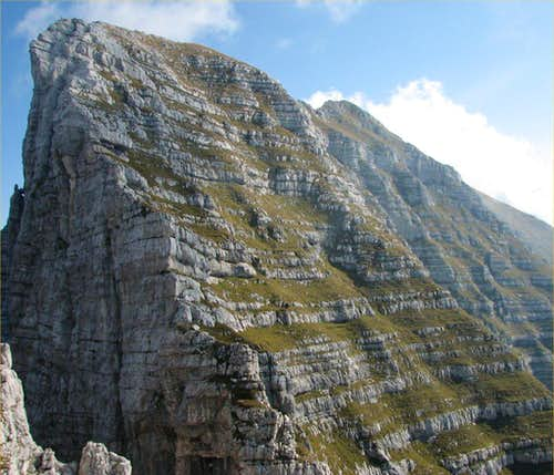 The very steep west slopes and ridge of Monte Zabus, 2244m.
