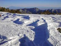 Snow drifts near the summit...