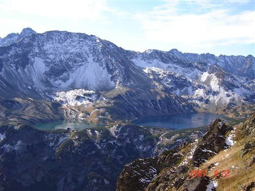 View of 5 Lakes Valley from Krzyzne,High Tatra