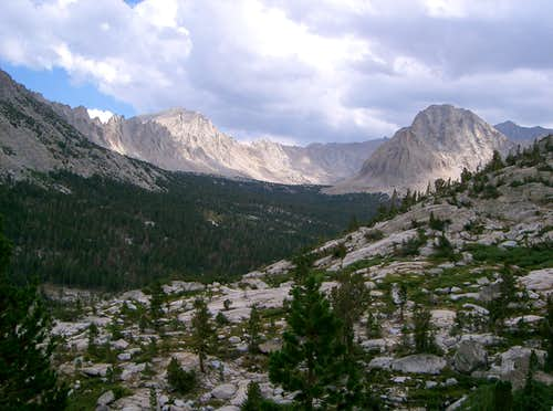 Bubbs Creek Drainage, Mount Bradley, and Center Peak from East Ridge of East Vidette