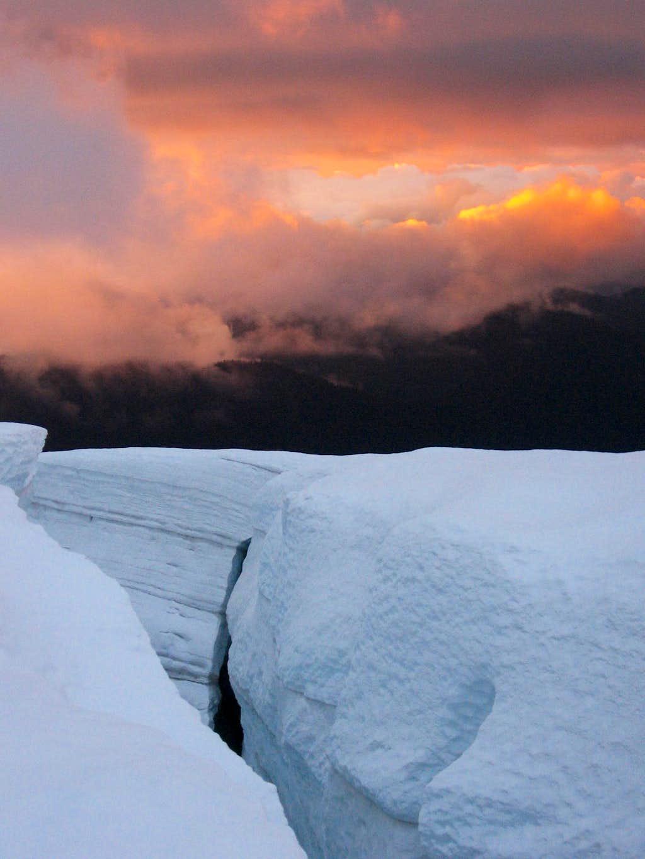 Crevasse at sunset on Mount Baker