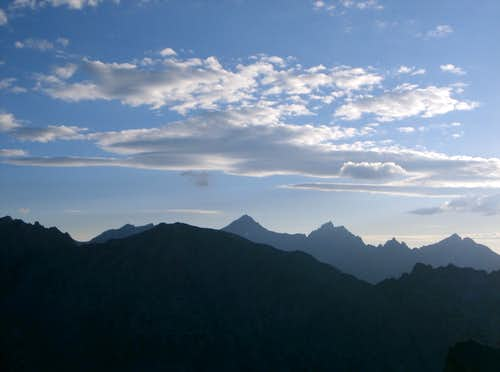 Mount Brewer and North Guard Silhouettes above West Vidette