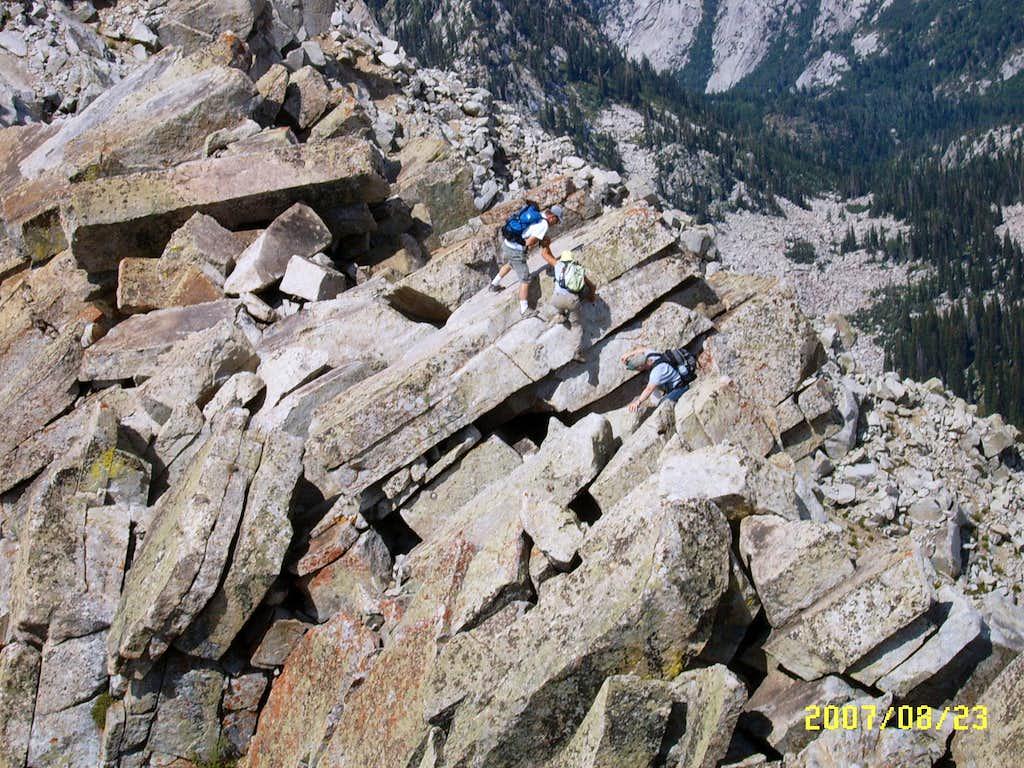 Scrambling between the South and North Peaks of Lone Peak Mountain