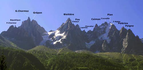 Aiguilles de Chamonix - labeled